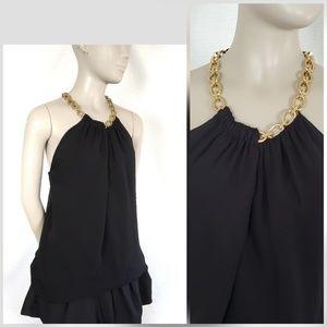 DVF Aubrey Chain Collar Silk Sleeveless blouse Top